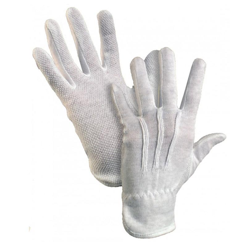 Kokvilnas darba cimdi pirkstaiņi ar gumijas punktiem vienā pusē ar izmēru L/9, balti pāris
