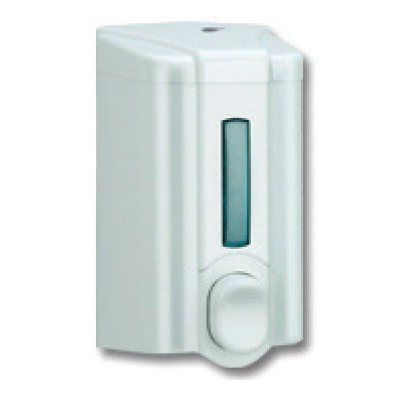 Šķidro ziepju dozators VIA, tilpums 500 ml, 160 x 90 x 90 mm, baltā krāsā