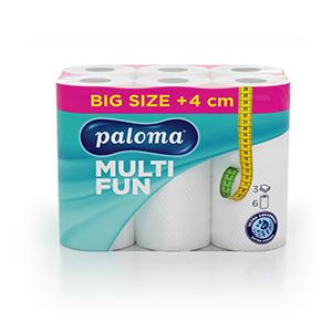 Papīra dvieļi PALOMA MULTI FUN,  3 sl., 6 ruļļi baltā krāsā