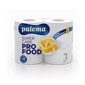 Papīra dvieļi PALOMA SUPER CARE Pro food, 3 sl., 2 ruļļi, baltā krāsā ar reljefu