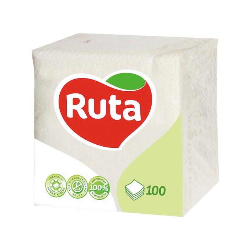 Salvetes RUTA, 1 sl., 100 salvetes, 24 x 24 cm, baltā krāsā