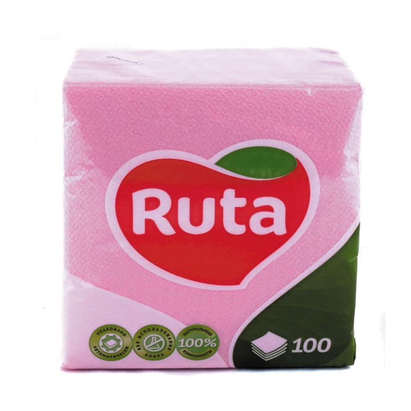 Salvetes RUTA, 1 sl., 100 salvetes, 24 x 24 cm, rozā krāsā