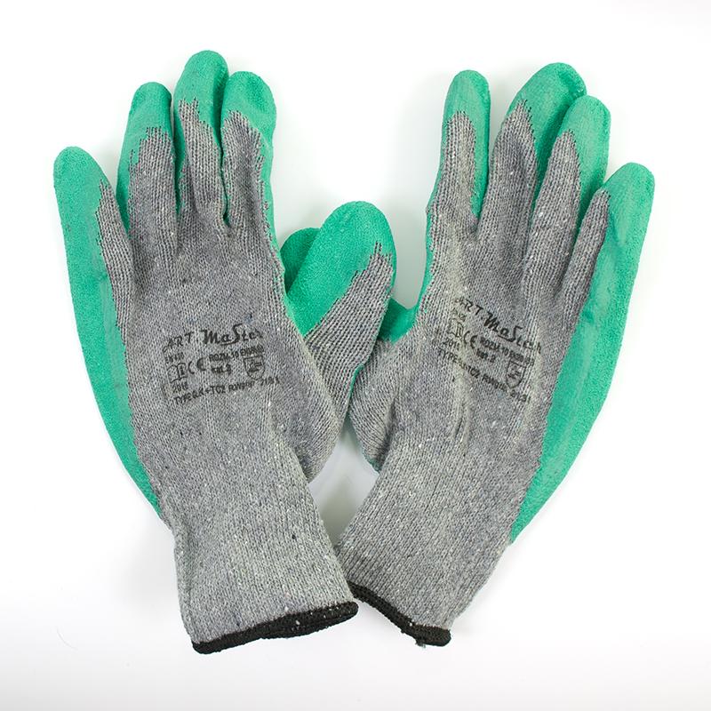Darba cimdi pirkstaiņi 3090, kokvilnas, pārklāti ar lateksu, izmērs 10, pāris