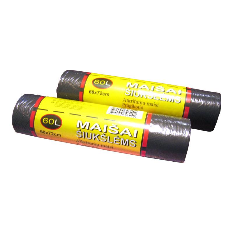 Atkritumu maisi ALFENA, tilpums 60L, 20 gab., 8 mkr, melni, HDPE, 60 x 72 cm