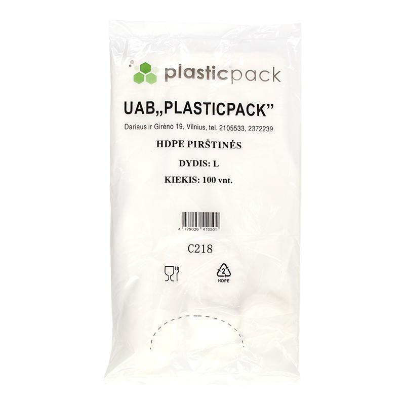 Polietilēna cimdi PLASTICPACK, HDPE, 100 gab.