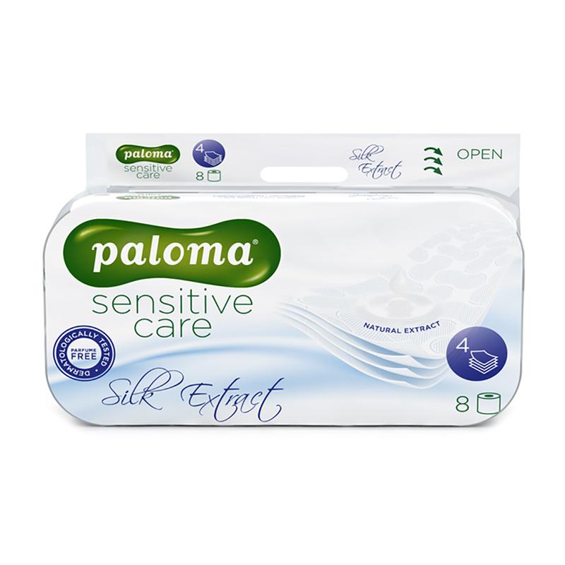 Tualetes papīrs PALOMA SENSITIVE CARE Silk Extract, 4 sl., 150 lapiņas rullī, 9.7 cm x 20.1 m, baltā krāsā