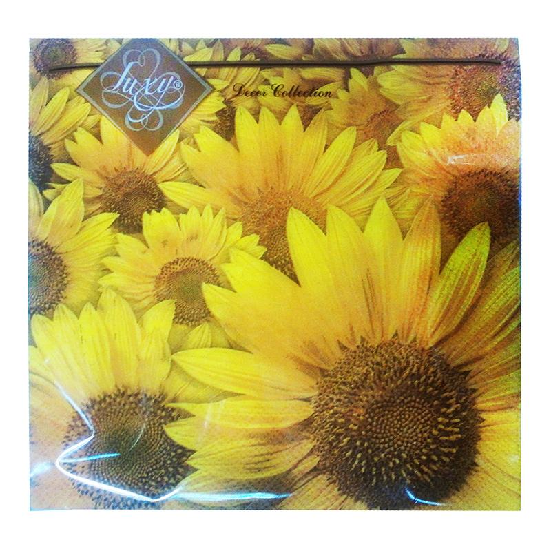 Salvetes LLK Luxy, 3 sl., 20 salvetes, 33 x 33 cm, saulespuķe