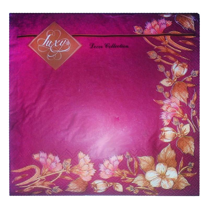 Salvetes LLK Luxy, 3 sl., 20 salvetes, 33 x 33 cm, bordo krāsā ar ziedu rakstu