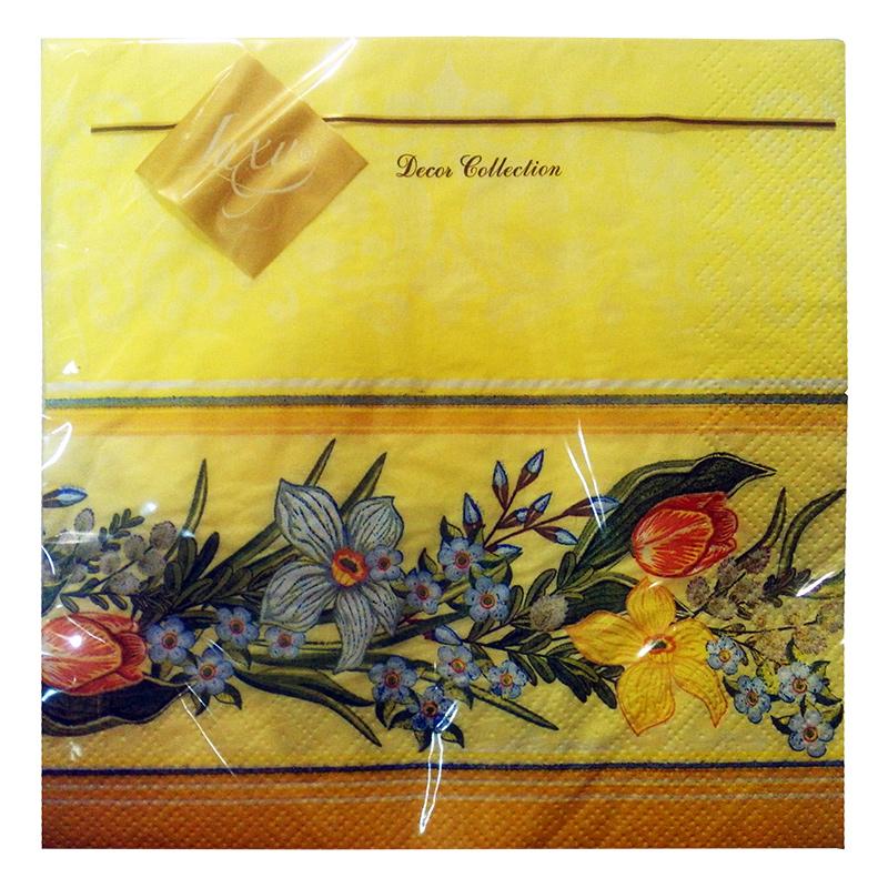 Salvetes LLK Luxy, 3 sl., 20 salvetes, 33 x 33 cm, dzeltenā krāsā ar pavasara ziediem