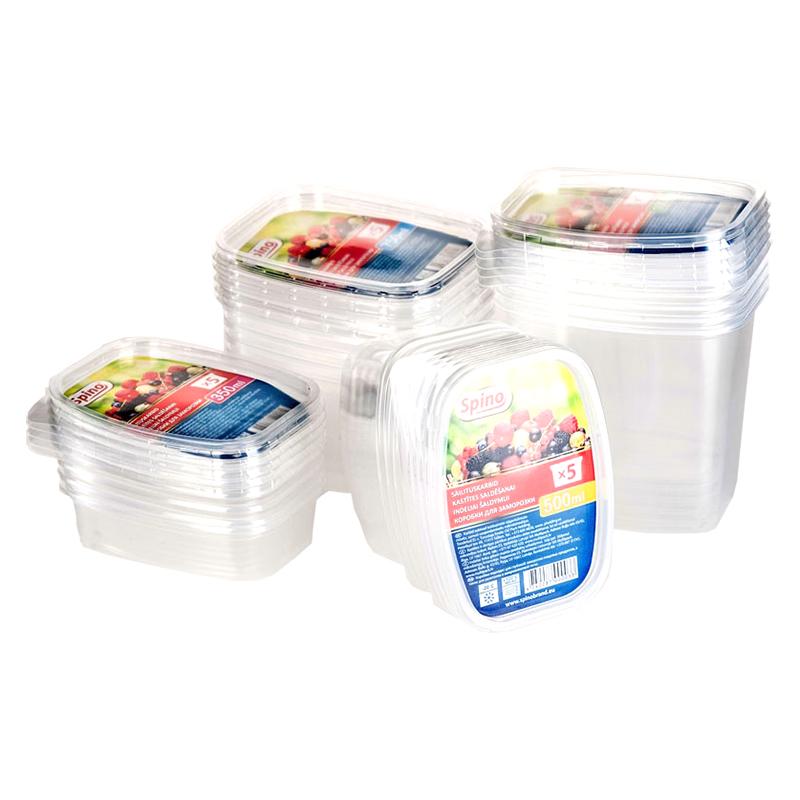 Plastmasas kastītes saldēšanai SPINO, 500 ml, 5 gab., caurspīdīgas