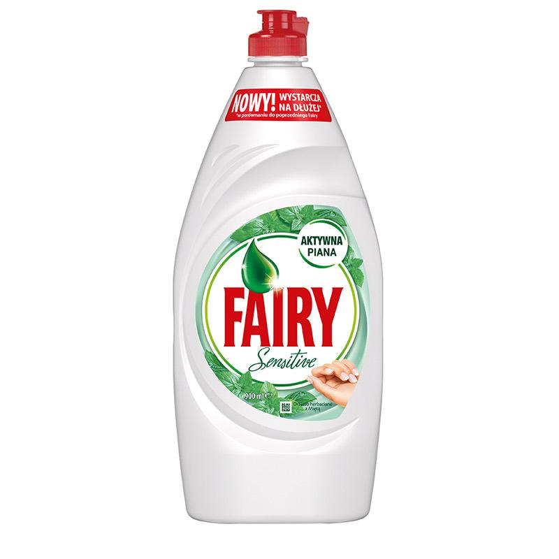 Trauku mazgāšanas līdzeklis FAIRY Sensitive Tea Tree & Mint, 900 ml