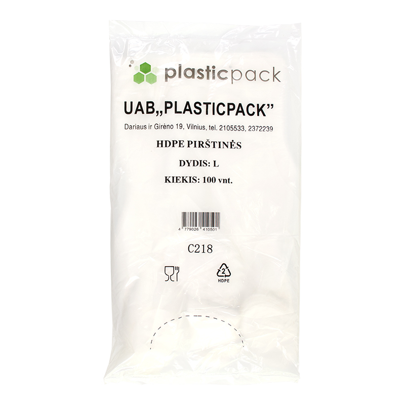 Polietilēna cimdi PLASTICPACK, HDPE, L izmērs, 100 gab.