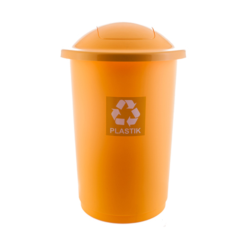 Atkritumu tvertne TOPBIN plastmasai, dzeltenā krāsā, 50 l