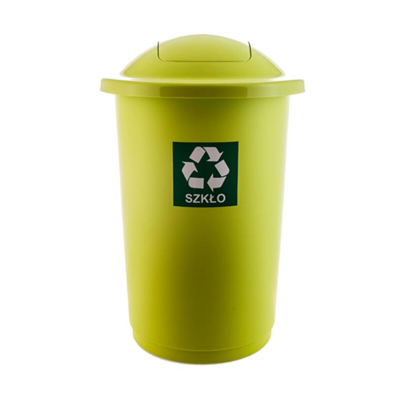 Atkritumu tvertne TOPBIN stiklam, zaļā krāsā, 50 l