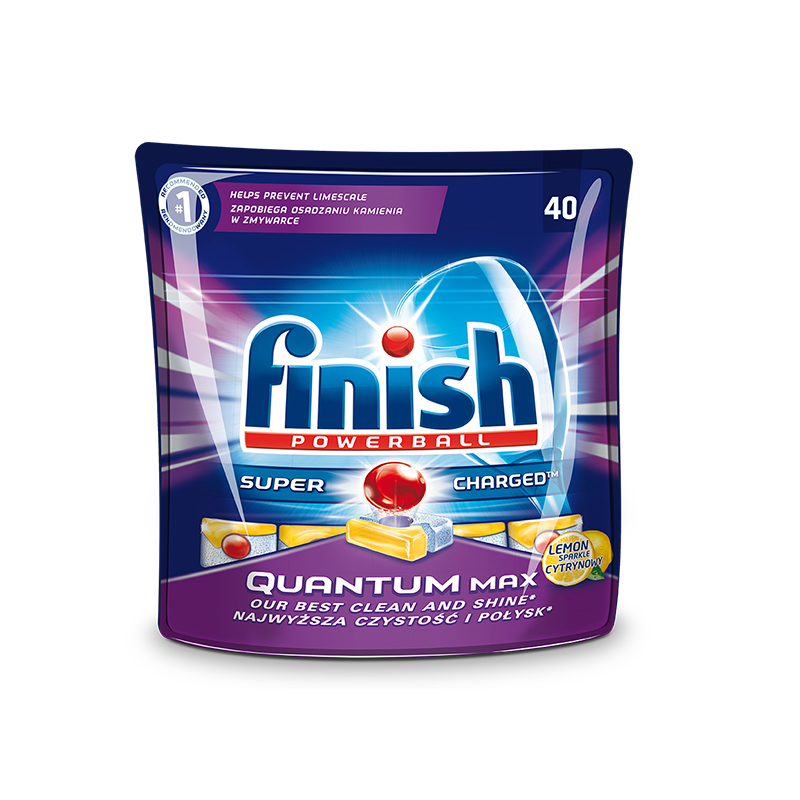 Tabletes trauku mazgāšanas mašīnām FINISH Quantum Max Lemon, 40 tabletes