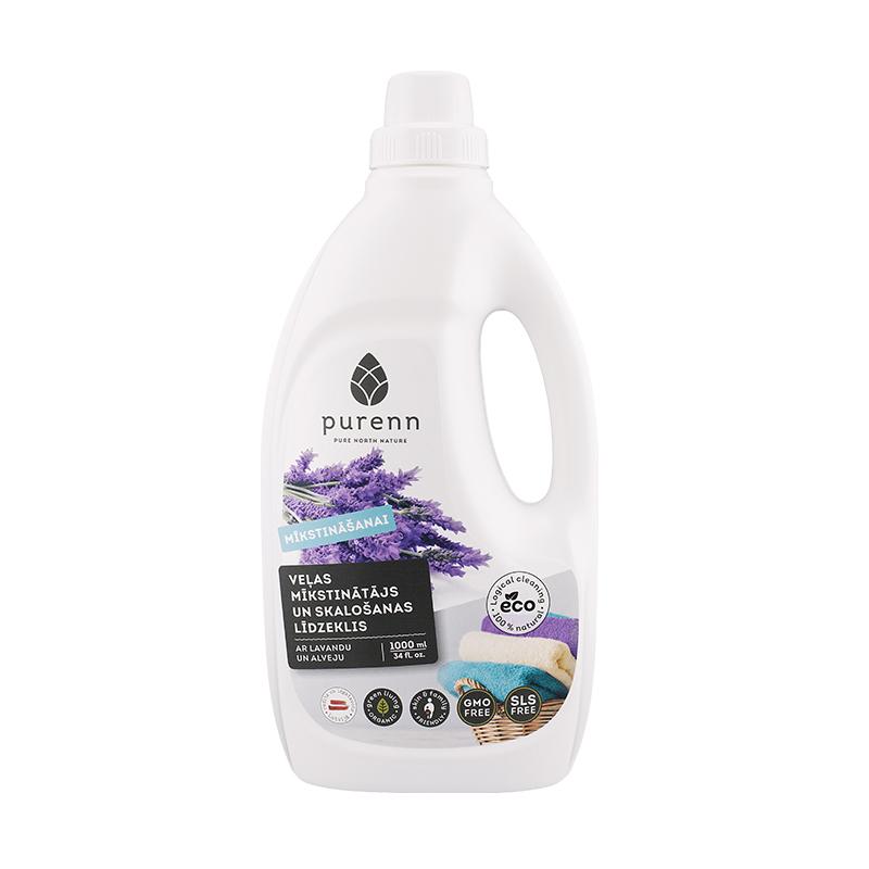 Veļas mīkstināšanas un skalošanas līdzeklis PURENN ar lavandu un alveju, Eco, 1 l