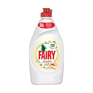 Trauku mazgāšanas līdzeklis FAIRY Sensitive Chamomile & Vitamine E, 450 ml