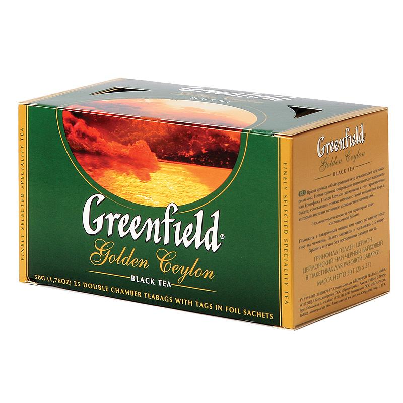 Melnā tēja GREENFIELD GOLDEN CEYLON, 25 x 2 g maisiņi paciņā