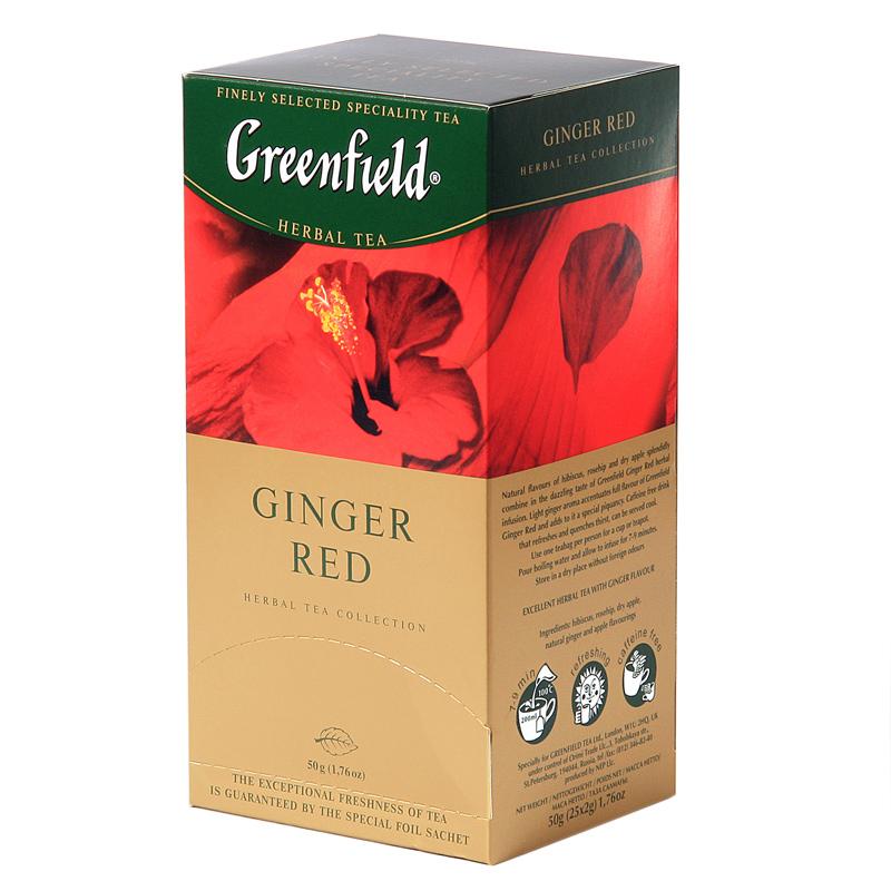 Zāļu tēja GREENFIELD GINGER RED, 25 x 2 g maisiņi paciņā