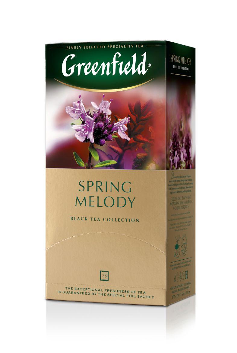Melnā tēja GREENFIELD SPRING MELODY, 25 x 1.5 g maisiņi paciņā