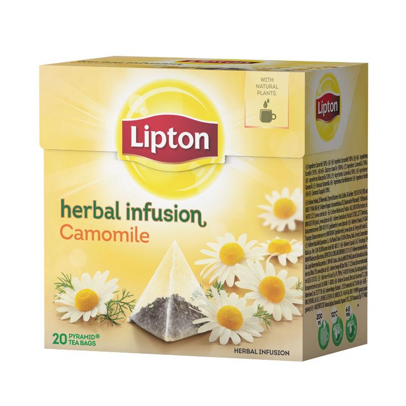 Zāļu tēja LIPTON, Camomile, 20 piramīdas maisiņi paciņā