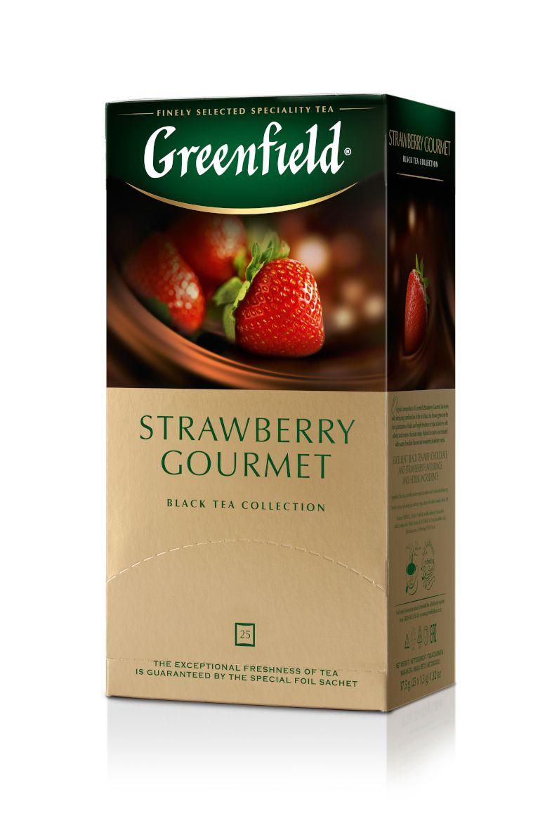 Melnā tēja GREENFIELD STRAWBERRY GOURMET, 25 x 1.5 g maisiņi paciņā