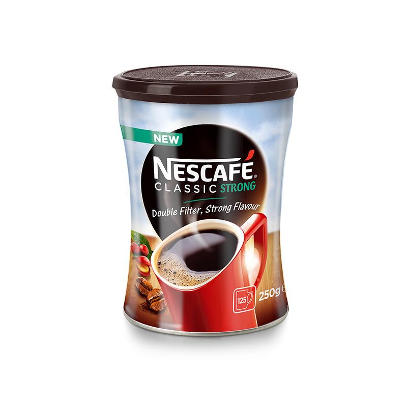 Šķīstošā kafija NESCAFE CLASSIC Strong, metāla bundžā, 250g