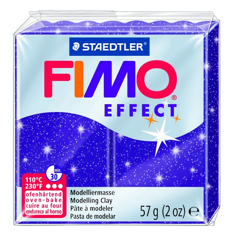 Cietējoša modelēšanas masa FIMO EFFECT, 56 g, mirdzoša violetā krāsa (glitter violet)