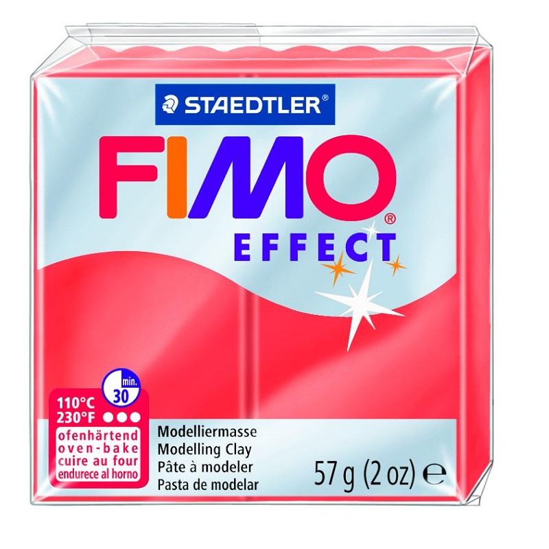 Cietējoša modelēšanas masa FIMO EFFECT, 56 g, caurspīdīgi sarkanā krāsa (translucen red)