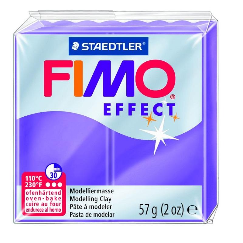 Cietējoša modelēšanas masa FIMO EFFECT, 56 g, caurspīdīgi violetā krāsa (translucen violet)