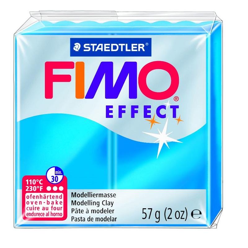 Cietējoša modelēšanas masa FIMO EFFECT, 56 g, caurspīdīgi zilā krāsa (translucen blue)