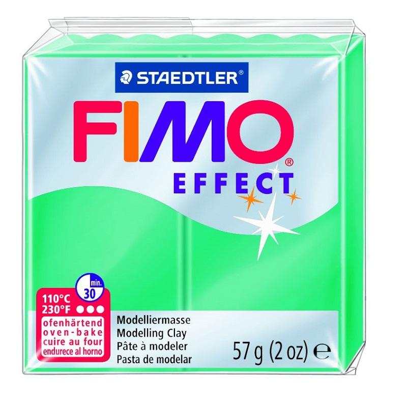 Cietējoša modelēšanas masa FIMO EFFECT, 56 g, caurspīdīgi zaļā krāsa (translucen green)
