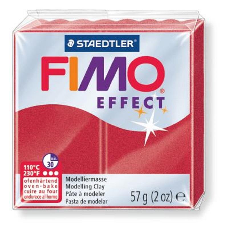Cietējoša modelēšanas masa FIMO EFFECT, 56 g, rubīna sarkanā krāsa, metāliskā (metallic ruby red)