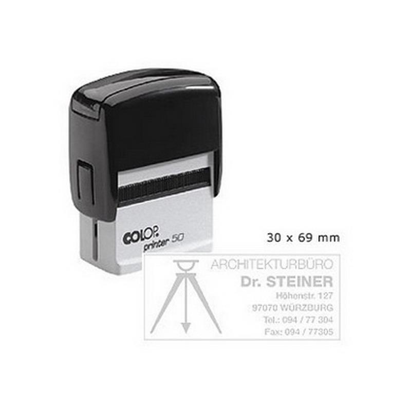 Zīmogs COLOP Printer C50, melns korpuss, bez krāsas spilventiņš